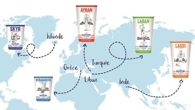 La gamme comporte pour le moment les yaourts traditionnels de cinq pays.