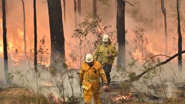 Un pompier à Jerrawangala, en Australie, le 1er janvier 2020.