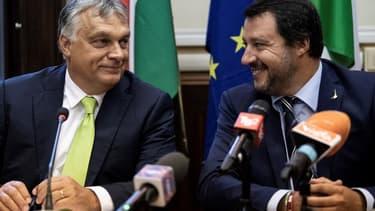 Le Premier ministre hongrois Viktor Orban et le ministre italien de l'intérieur Matteo Salvini