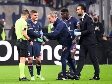 Marco Verratti touché à la hanche lors du match OM-PSG