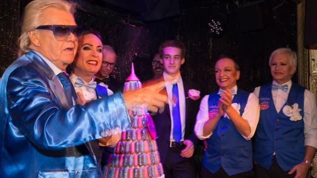 Michou en 2016 célébrant son 85ème anniversaire et le 60ème anniversaire de son cabaret