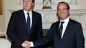 """François Hollande a estimé mardi à Londres qu'il fallait concevoir une Europe à """"plusieurs vitesse"""", à l'issue d'un entretien avec le Premier ministre britannique, David Cameron. /Photo prise le 10 juillet 2012/REUTERS/Andrew Winning"""