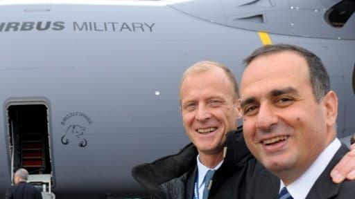 Marwan Lahoud (premier plan, aux côtés de Tom Enders) n'exclut plus totalement un nouveau rapprochement avec BAE Systems