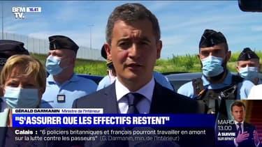 """Gérald Darmanin à Calais veut """"s'assurer que les effectifs [de police] restent sur place"""""""