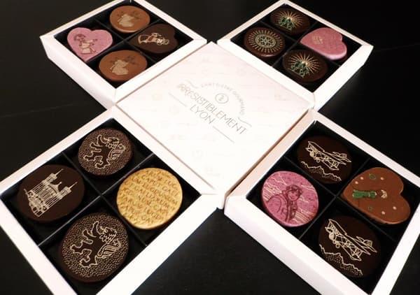 Les chocolats Irrésistiblement Lyon proposent des visuels en référence à l'histoire de la ville.