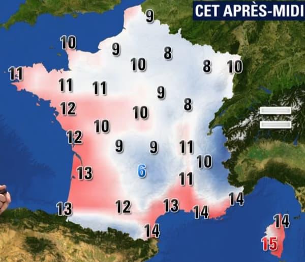 Les températures de ce mercredi 10 janvier dans l'après-midi
