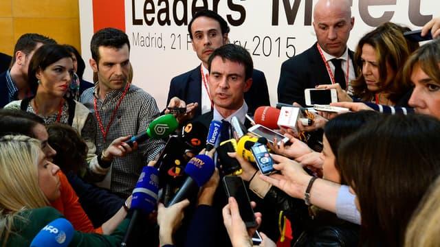 Manuel Valls à Madrid, le 21 février.