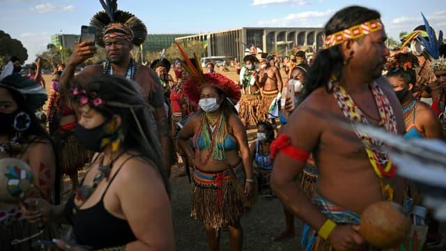 Image d'illustration - Manifestation d'indigènes du Brésil devant la Cour Suprême à Brasilia le 24 août 2021