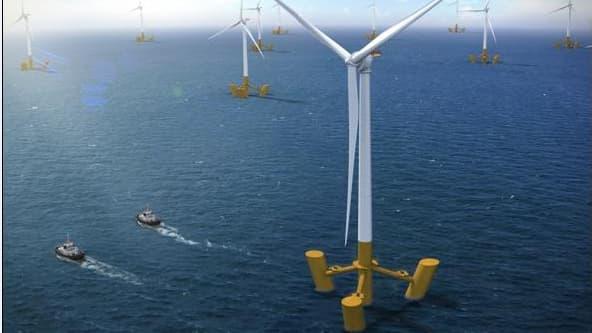Alstom et DCNS viennent de signer un accord sur un système intégré d'éolienne flottante semi- submersible d'une puissance de 6 MW.