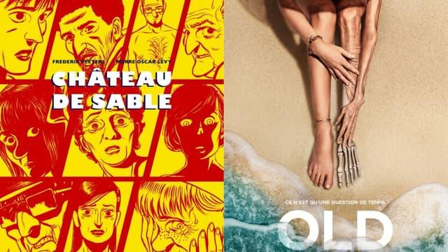 """La couverture de la BD """"Château de sable"""" et l'affiche du film """"Old"""""""