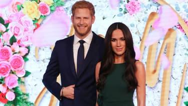 Les statues de cire du prince William et Meghan Markle à Madame Tussauds à Londres, le 9 mai 2018
