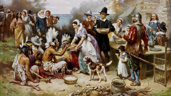 Le premier Thanksgiving, par le peintre Jean Leon Gerome Ferris (1863-1930).