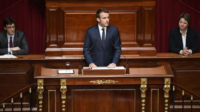 Emmanuel Macron s'exprime devant le Parlement réuni en Congrès, le 3 juillet 2017