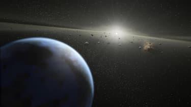 Vue d'artiste d'un nuage d'astéroïdes.