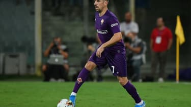 Franck Ribéry avec la Fiorentina contre le Napoli, le 24 août 2019 à Florence
