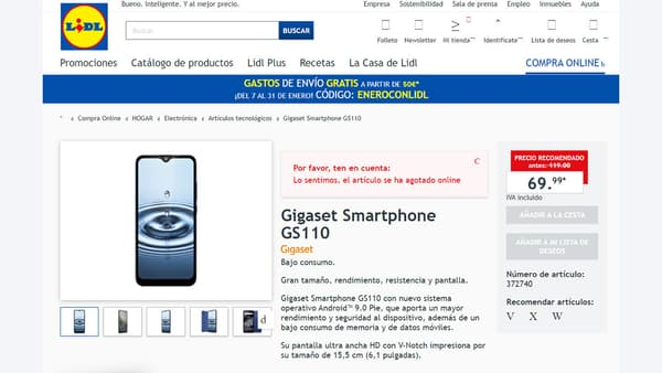 Capture d'écran du site espagnol de Lidl