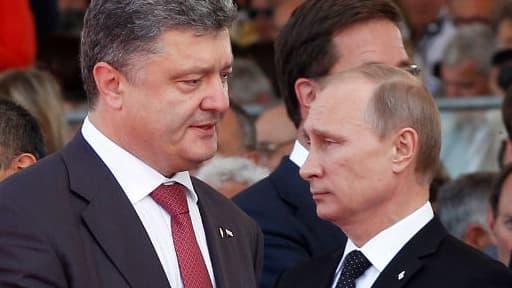 Petro Porochenko et Vladimir Poutine, le 6 juin 2014.