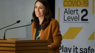 La Première ministre néo-zélandaise  Jacinda Ardern lors d'une conférence de presse sur le Covid-19 au parlement de Wellington le 8 juin 2020