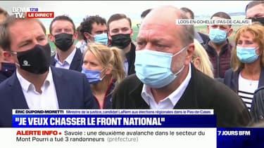 """Éric Dupond-Moretti: """"Xavier Bertrand s'investit dans la région mais dit qu'il veut aller à l'Élysée, on ne peut pas à la fois être à la région et à l'Élysée"""""""