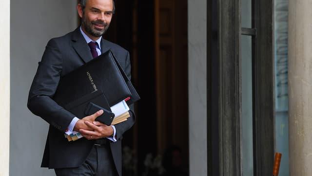 Edouard Philippe sort du conseil des ministres le 27 septembre 2017.