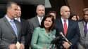 La procureure Carmen Ortiz lors d'une conférence de presse à l'issue du verdict, Boston, Massachusetts, le 12 août 2013.