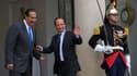 Le Premier ministre du Qatar Cheikh Hamad bin Jassim Al Thani sur le perron de l'Elysée après un entretien de plus d'une heure avec François Hollande. Le Qatar reste un partenaire incontournable de la France au Moyen-Orient, même si ses dirigeants n'auron