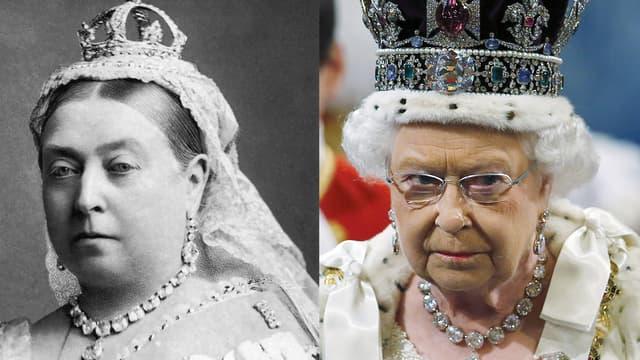 La reine Victoria en 1882 et la reine Elizabeth en 2015.