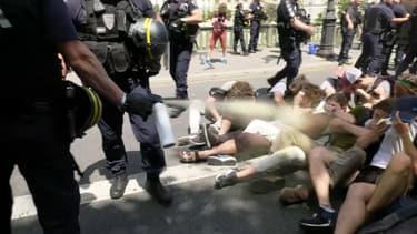 Image extraite d'une des vidéos tournant sur les réseaux sociaux, dans laquelle un CRS gaze des manifestants au sol - BFMTV
