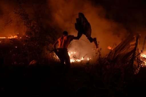 Un homme lutte contre les flammes des incendies à Vigo, en Espagne, le 15 octobre 2017