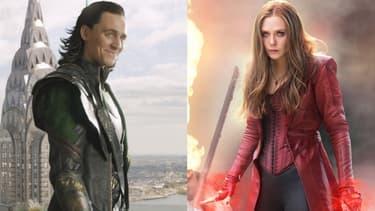 Loki, incarné par Tom Hiddleston, et la Sorcière Rouge, jouée par Elisabeth Olsen