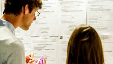 Des personnes examinant des offres de postes à Pôle Emploi (image d'illustration)