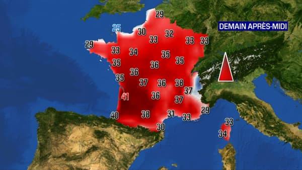 Carte des températures en France jeudi après-midi.