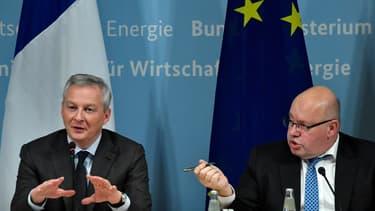 Les ministres de l'Economie français et allemand Bruno Le Maire et Peter Altamier.