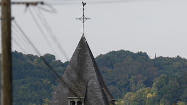 hoto du clocher de l'église de Saint-Etienne-du-Rouvray, le 26 juillet 2016.