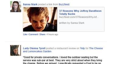 Game of Thrones résumé sur une timeline Facebook.