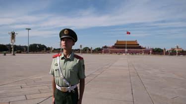 Un soldat chinois sur la place Tiananmen à Pékin, le 4 septembre 2018 (illustration).