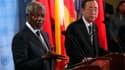 """Le secrétaire général des Nations unies Ban Ki-moon (à droite) a évoqué jeudi un danger """"imminent"""" de guerre civile en Syrie, tandis que l'émissaire international Kofi Annan se prononçait pour une pression accrue sur Damas pour mettre fin à 15 mois de vio"""