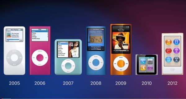 Les sept générations d'iPod nano