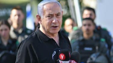 Le Premier ministre israélien Benjamin Netanyahu, le 13 mai 2021 à Lod, près de Tel-aviv (photo d'illustration)