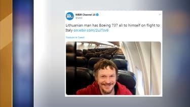 L'homme s'est retrouvé seul à bord d'un vol Vilnius-Bergame.