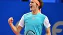 Alexander Zverev, tout heureux de se qualifier pour la finale du tournoi ATP de Montpellier.