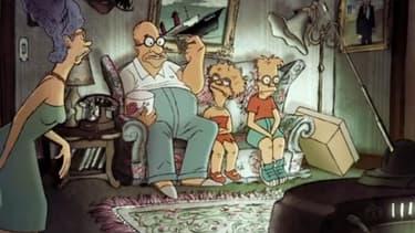 """La famille Simpson réunie pour le """"couch gag"""" de fin de générique, revisités par Sylvain Chomet."""