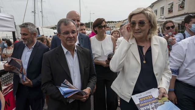Thierry Mariani et Marine Le Pen, à Six-Four-les-Plages, le 17 juin 2021.