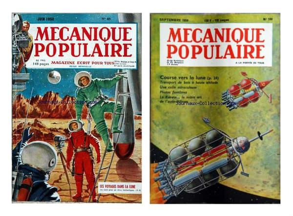 Deux couvertures du magazine Mécanique populaire, de 1950 et 1959.