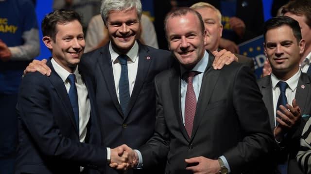 François-Xavier Bellamy, Laurent Wauquiez et Manfred Weber, président du groupe PPE au Parlement européen, le 26 avril 2019 à Strasbourg. (Photo d'illustration)