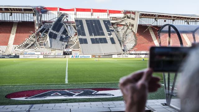 Le stade endommagé de l'AZ Alkmaar, le 10 août 2019
