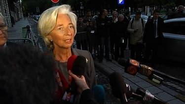 Christine Lagarde, ex-ministre de l'Economie, actuelle partronne du FMI, à la sortie de son auditon dans le cadre de l'affaire Lagarde-Tapie.