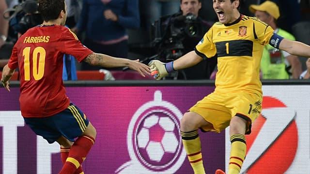 Cecs Fabregas avec Iker Casillas