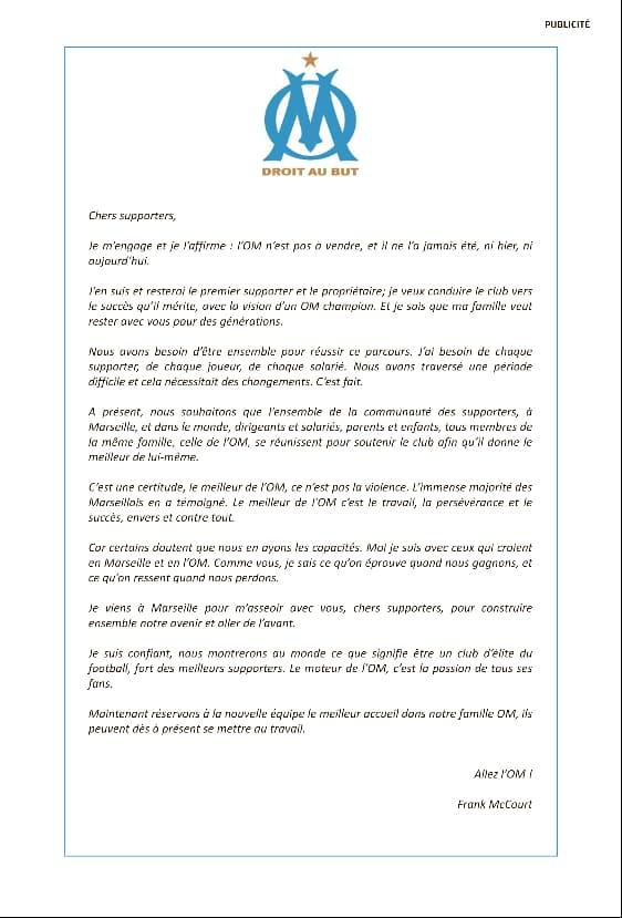 La lettre ouverte de Frank McCourt aux supporters de l'OM