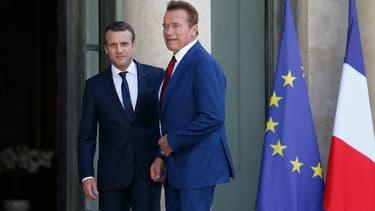 Emmanuel Macron et Arnold Schwarzenegger